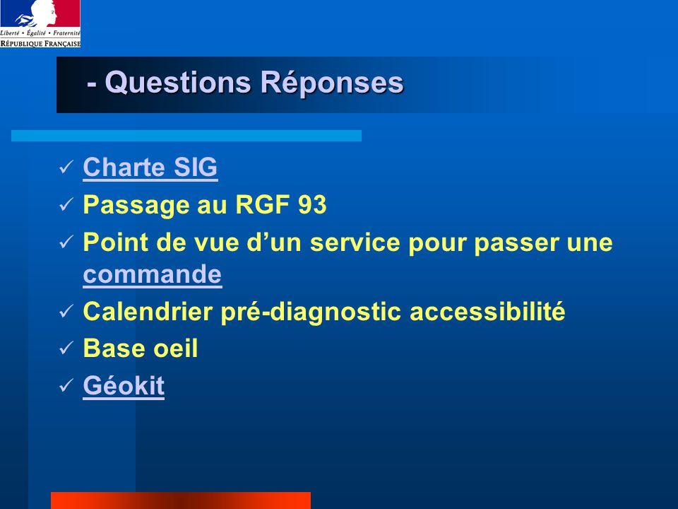 - Questions Réponses Charte SIG Passage au RGF 93 Point de vue dun service pour passer une commande commande Calendrier pré-diagnostic accessibilité Base oeil Géokit