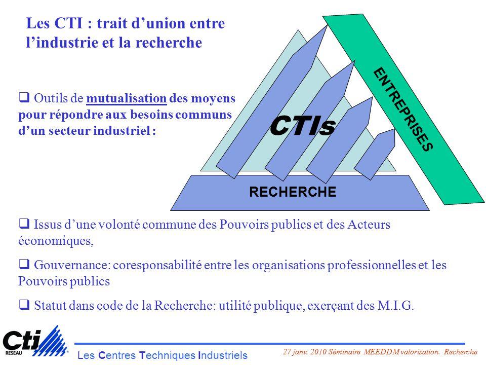 Les Centres Techniques Industriels 27 janv. 2010 Séminaire MEEDDM valorisation.