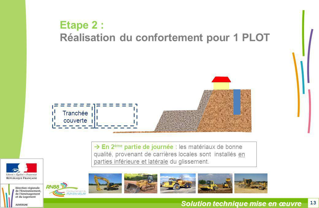 13 Solution technique mise en œuvre Tranchée couverte En 2 ème partie de journée : les matériaux de bonne qualité, provenant de carrières locales sont
