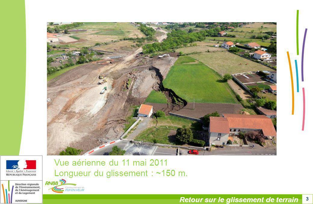 3 Retour sur le glissement de terrain Vue aérienne du 11 mai 2011 Longueur du glissement : ~150 m.