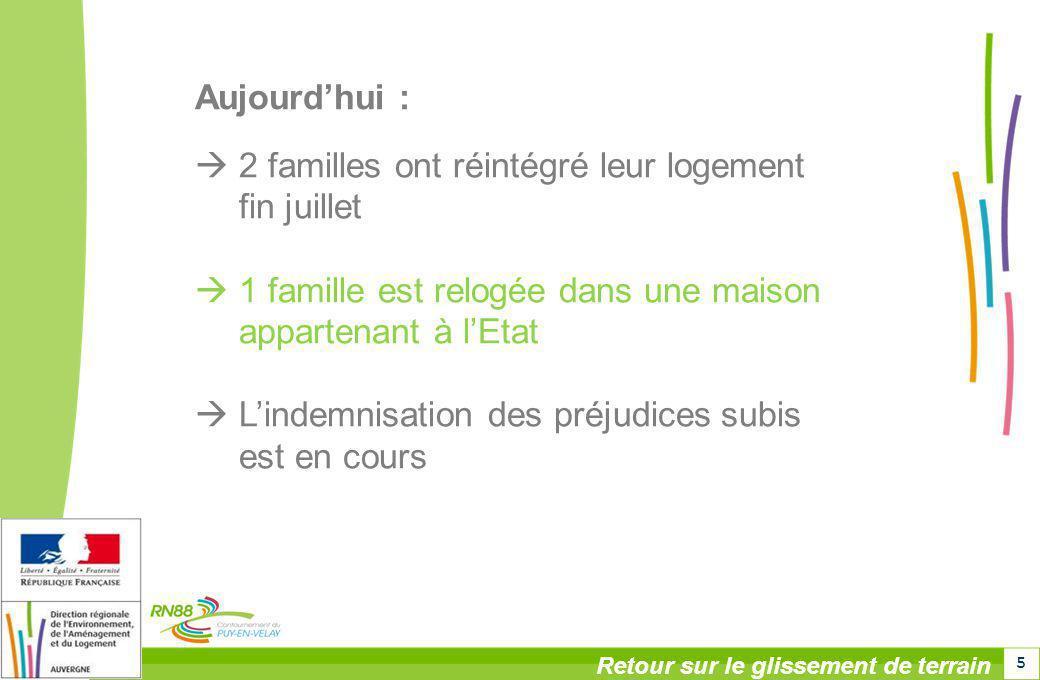 5 Aujourdhui : 2 familles ont réintégré leur logement fin juillet 1 famille est relogée dans une maison appartenant à lEtat Lindemnisation des préjudi