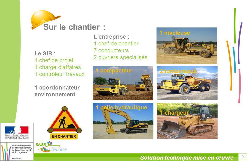 9 Solution technique mise en œuvre Sur le chantier : Le SIR : 1 chef de projet 1 chargé daffaires 1 contrôleur travaux 1 coordonnateur environnement 1