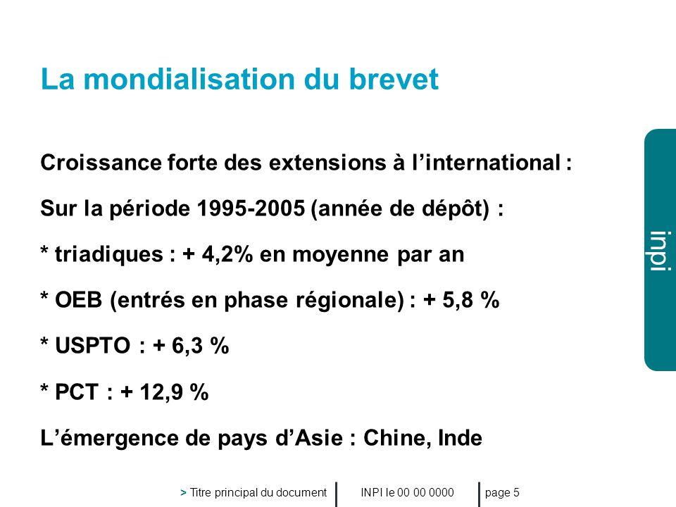 inpi INPI le 00 00 0000 > Titre principal du document page 5 La mondialisation du brevet Croissance forte des extensions à linternational : Sur la période 1995-2005 (année de dépôt) : * triadiques : + 4,2% en moyenne par an * OEB (entrés en phase régionale) : + 5,8 % * USPTO : + 6,3 % * PCT : + 12,9 % Lémergence de pays dAsie : Chine, Inde