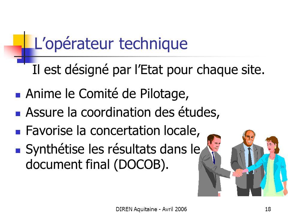DIREN Aquitaine - Avril 200618 Lopérateur technique Il est désigné par lEtat pour chaque site. Anime le Comité de Pilotage, Assure la coordination des
