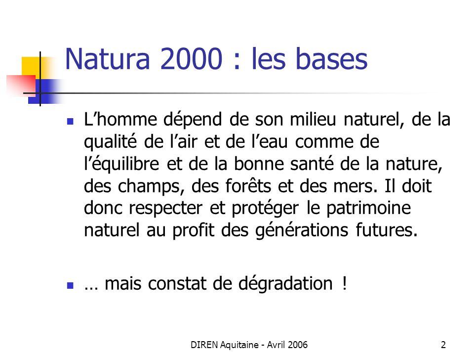 DIREN Aquitaine - Avril 20063 Natura 2000 : les bases Adoption de 2 directives européennes La directive « Oiseaux » du 2 avril 1979 = protection des habitats nécessaires à la reproduction et à la survie des oiseaux considérés comme rares ou menacés dans lUE classement en Zones de Protection Spéciales La directive « Habitats » du 21 mai 1992 = promotion de la conservation des habitats naturels et habitats despèces.