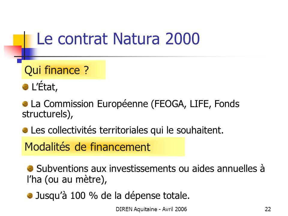 DIREN Aquitaine - Avril 200622 Le contrat Natura 2000 LÉtat, La Commission Européenne (FEOGA, LIFE, Fonds structurels), Les collectivités territoriale