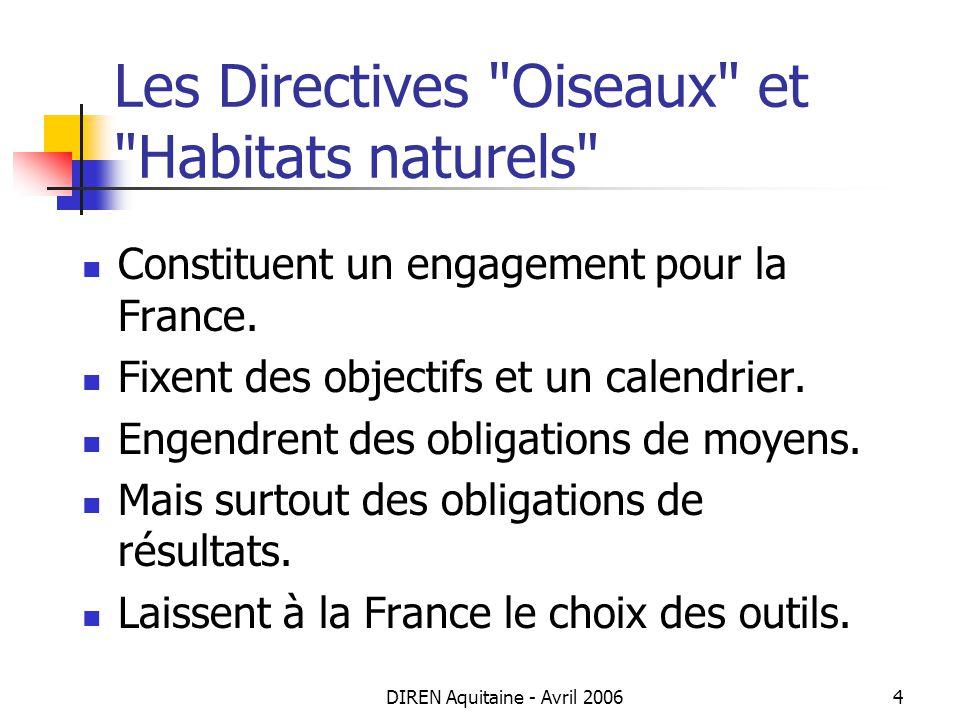DIREN Aquitaine - Avril 20065 Les attentes : moyens Transposer les directives en droit français.