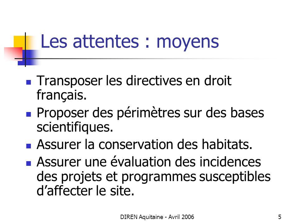 DIREN Aquitaine - Avril 20065 Les attentes : moyens Transposer les directives en droit français. Proposer des périmètres sur des bases scientifiques.