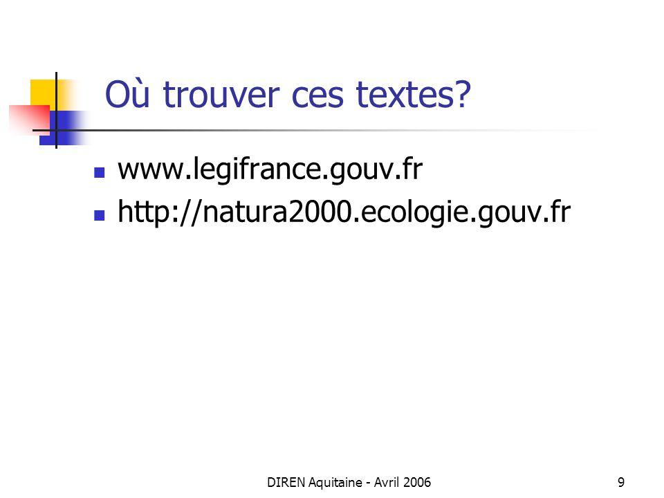 DIREN Aquitaine - Avril 20069 Où trouver ces textes? www.legifrance.gouv.fr http://natura2000.ecologie.gouv.fr