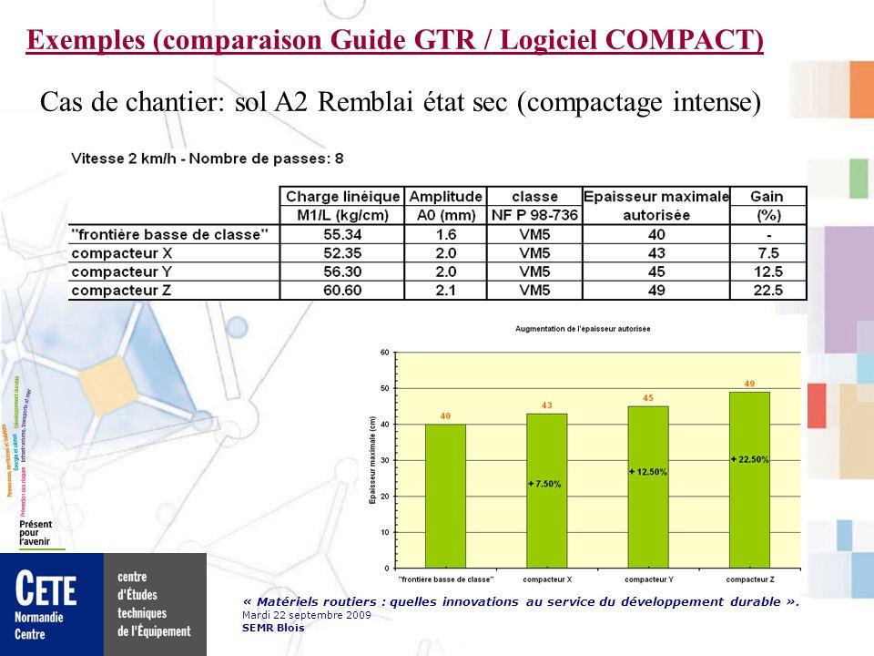 « Matériels routiers : quelles innovations au service du développement durable ». Mardi 22 septembre 2009 SEMR Blois Exemples (comparaison Guide GTR /