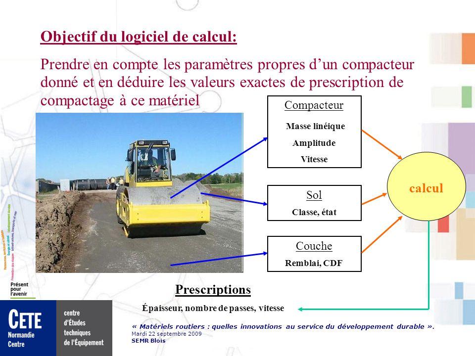 « Matériels routiers : quelles innovations au service du développement durable ». Mardi 22 septembre 2009 SEMR Blois Objectif du logiciel de calcul: P