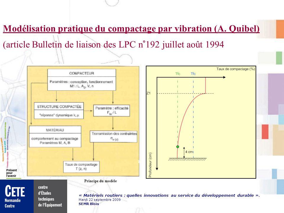 « Matériels routiers : quelles innovations au service du développement durable ». Mardi 22 septembre 2009 SEMR Blois Modélisation pratique du compacta