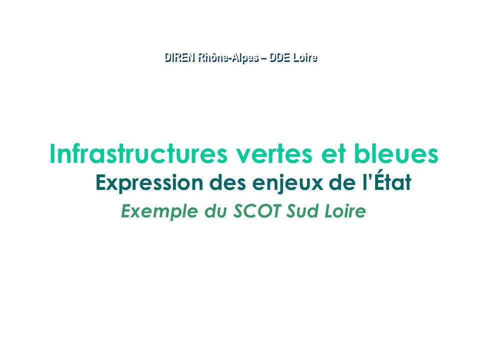 DIREN Rhône-Alpes – DDE Loire Infrastructures vertes et bleues Expression des enjeux de lÉtat Exemple du SCOT Sud Loire