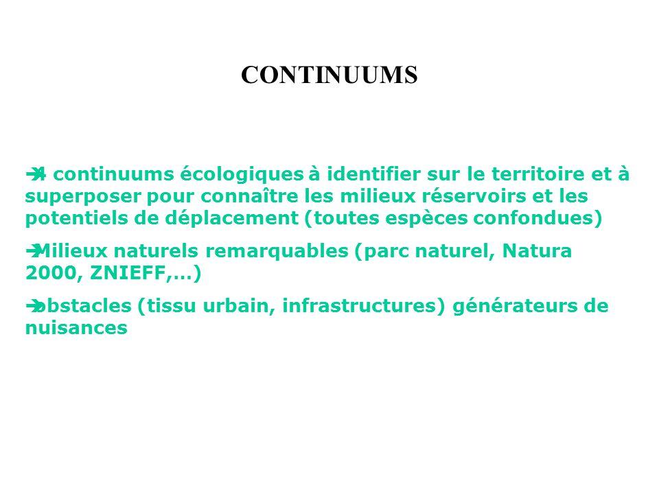 4 continuums écologiques à identifier sur le territoire et à superposer pour connaître les milieux réservoirs et les potentiels de déplacement (toutes