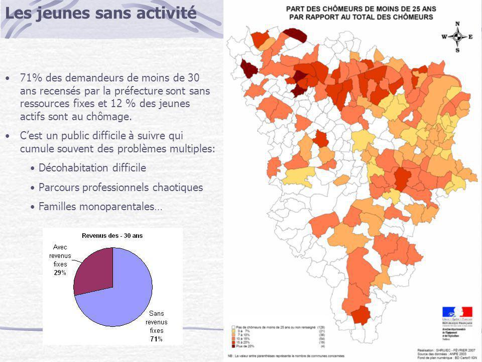 Les jeunes sans activité 71% des demandeurs de moins de 30 ans recensés par la préfecture sont sans ressources fixes et 12 % des jeunes actifs sont au