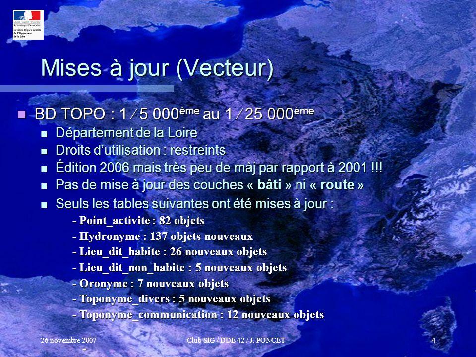 26 novembre 2007Club SIG / DDE 42 / J. PONCET4 Mises à jour (Vecteur) BD TOPO : 1 5 000 ème au 1 25 000 ème BD TOPO : 1 5 000 ème au 1 25 000 ème Dépa