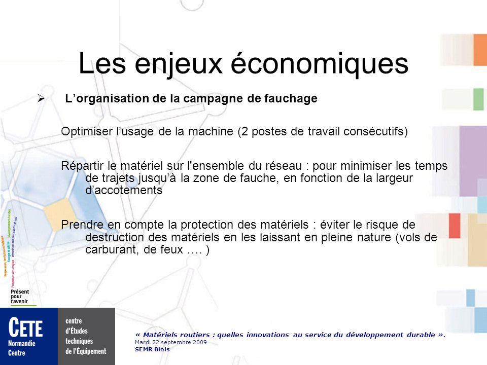 « Matériels routiers : quelles innovations au service du développement durable ». Mardi 22 septembre 2009 SEMR Blois Les enjeux économiques Lorganisat