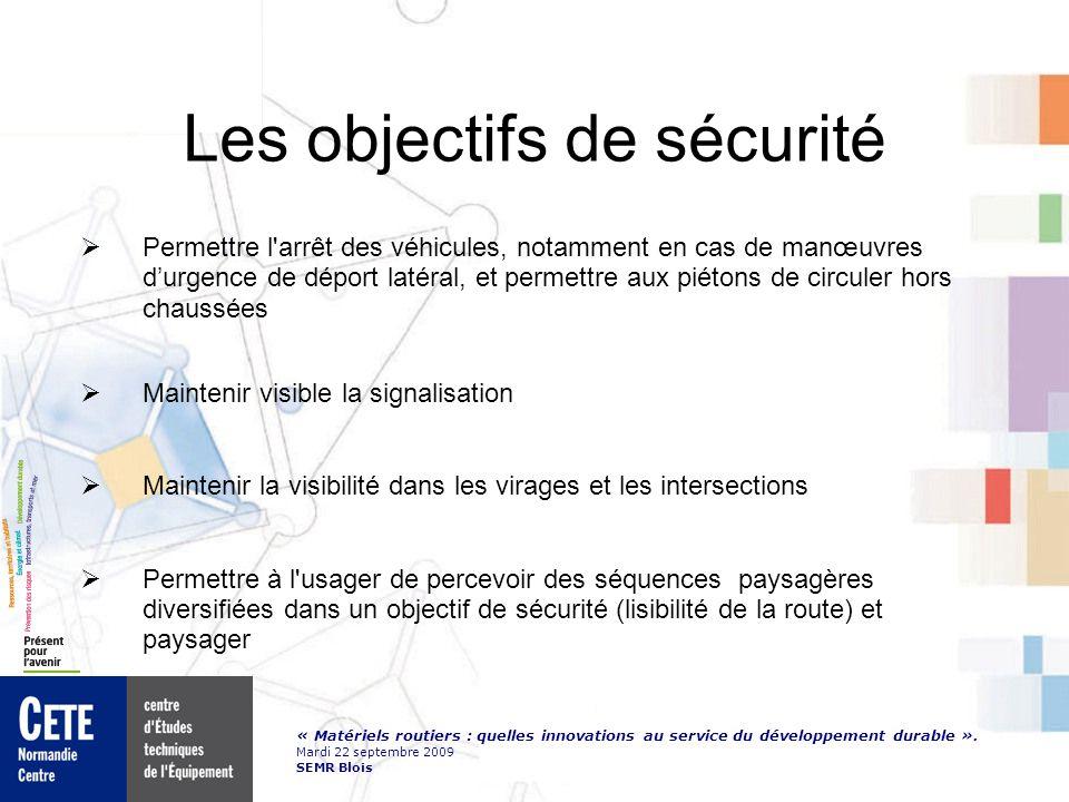 « Matériels routiers : quelles innovations au service du développement durable ». Mardi 22 septembre 2009 SEMR Blois Les objectifs de sécurité Permett