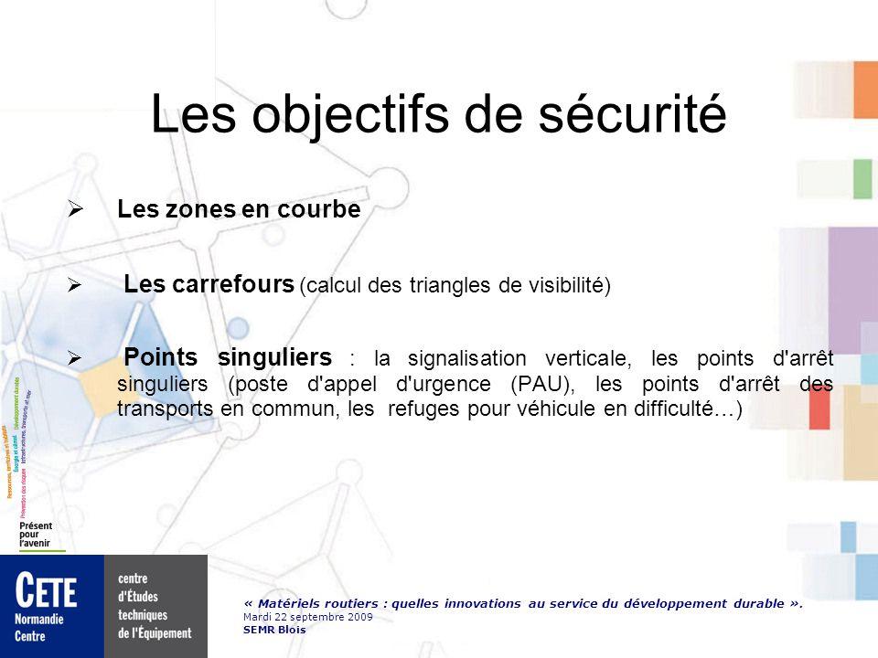 « Matériels routiers : quelles innovations au service du développement durable ». Mardi 22 septembre 2009 SEMR Blois Les objectifs de sécurité Les zon