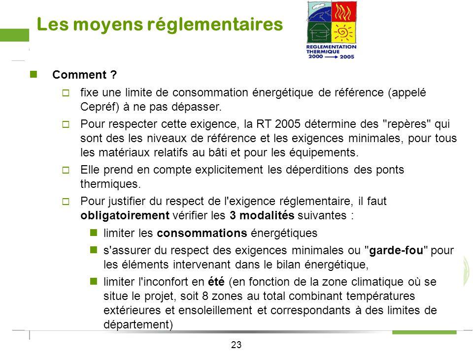 22 Construire aujourdhui … les moyens réglementaires La RT 2005 Pourquoi ? Les pouvoirs publics se sont engagés à