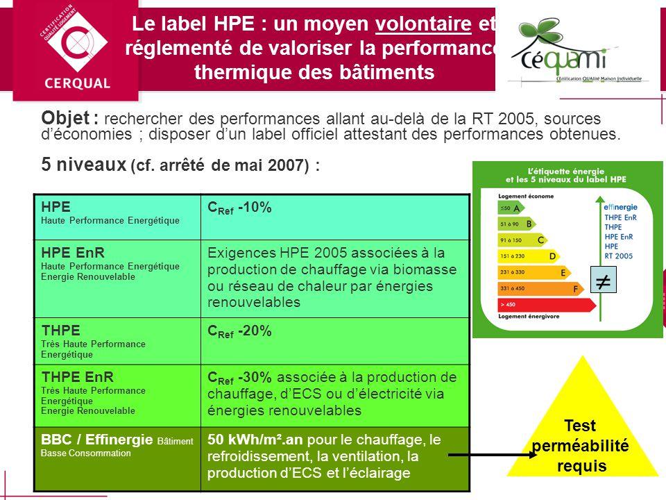 5 Quest-ce que le label haute performance énergétique ? Il est défini par un Arrêté ministériel du 3 mai 2007 : il est réglementé mais relève dune dém