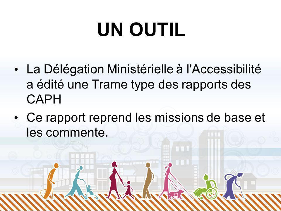 UN OUTIL La Délégation Ministérielle à l'Accessibilité a édité une Trame type des rapports des CAPH Ce rapport reprend les missions de base et les com