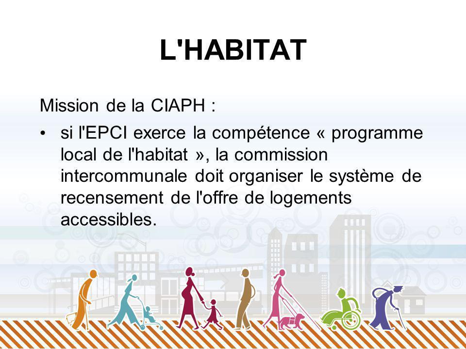 L HABITAT Mission de la CIAPH : si l EPCI exerce la compétence « programme local de l habitat », la commission intercommunale doit organiser le système de recensement de l offre de logements accessibles.