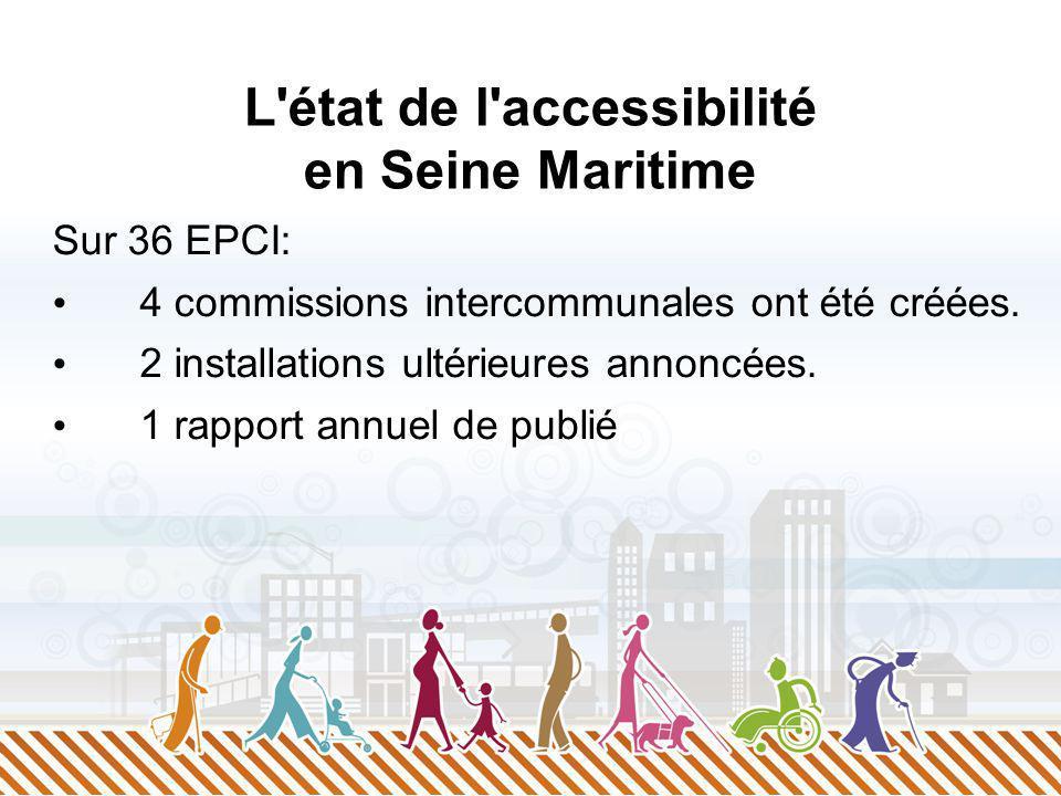 L'état de l'accessibilité en Seine Maritime Sur 36 EPCI: 4 commissions intercommunales ont été créées. 2 installations ultérieures annoncées. 1 rappor