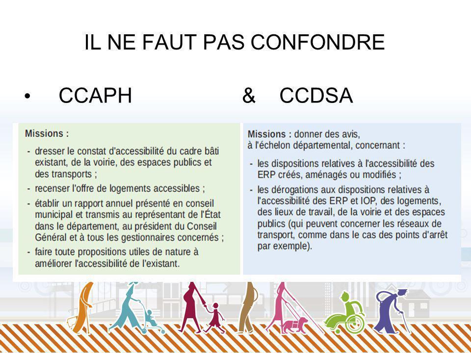 IL NE FAUT PAS CONFONDRE CCAPH & CCDSA