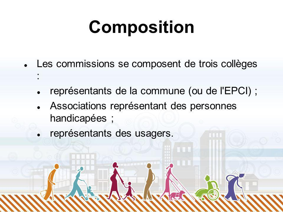 Composition Les commissions se composent de trois collèges : représentants de la commune (ou de l EPCI) ; Associations représentant des personnes handicapées ; représentants des usagers.