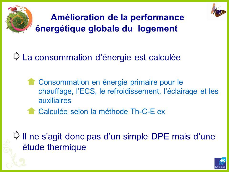 Amélioration de la performance énergétique globale du logement La consommation dénergie est calculée Consommation en énergie primaire pour le chauffag