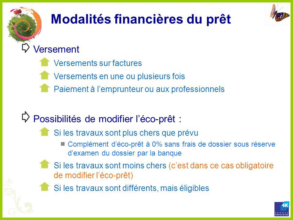 Modalités financières du prêt Versement Versements sur factures Versements en une ou plusieurs fois Paiement à lemprunteur ou aux professionnels Possi