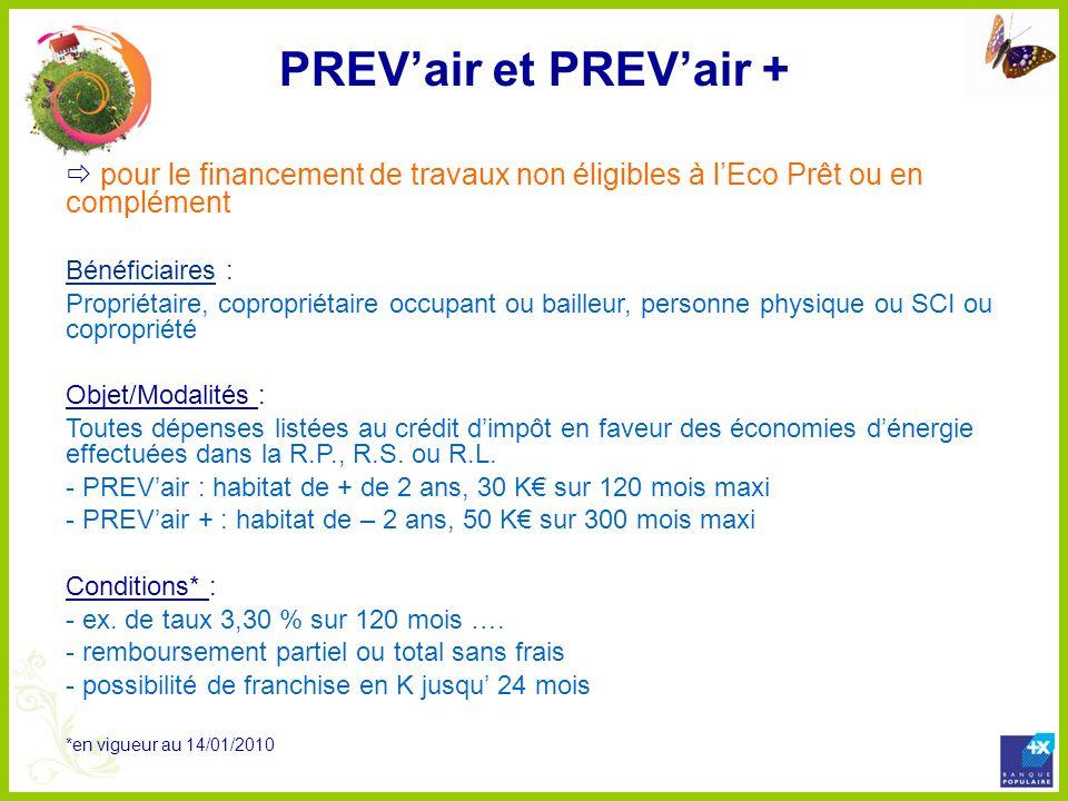 PREVair et PREVair + pour le financement de travaux non éligibles à lEco Prêt ou en complément Bénéficiaires : Propriétaire, copropriétaire occupant o