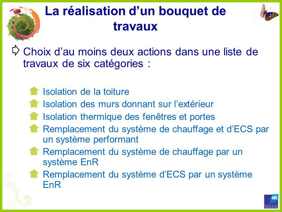 La réalisation dun bouquet de travaux Choix dau moins deux actions dans une liste de travaux de six catégories : Isolation de la toiture Isolation des