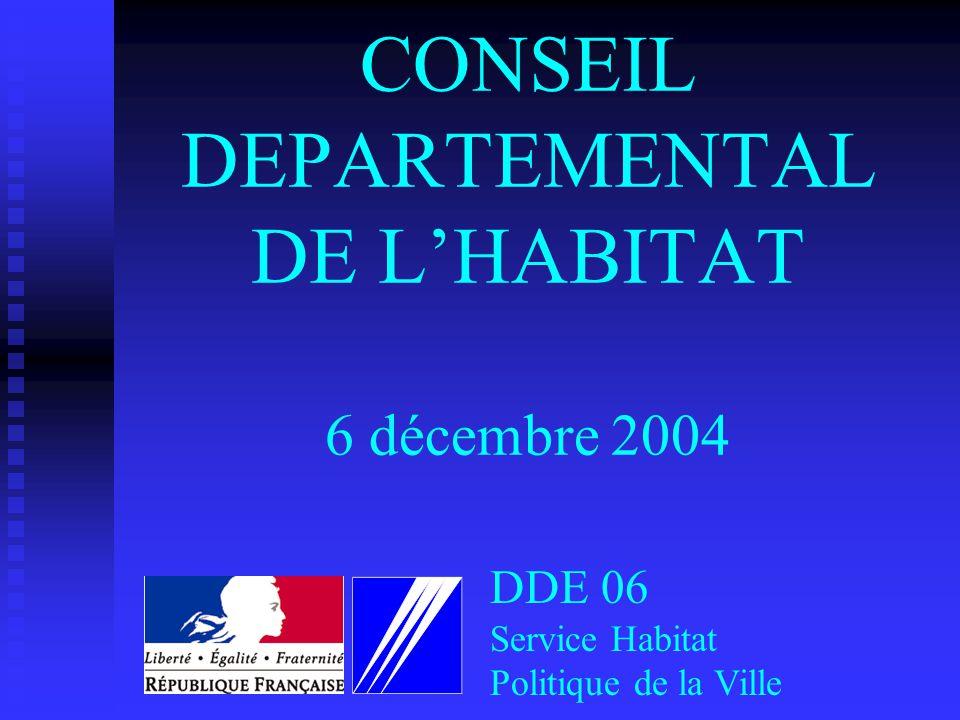 CONSEIL DEPARTEMENTAL DE LHABITAT 6 décembre 2004 DDE 06 Service Habitat Politique de la Ville