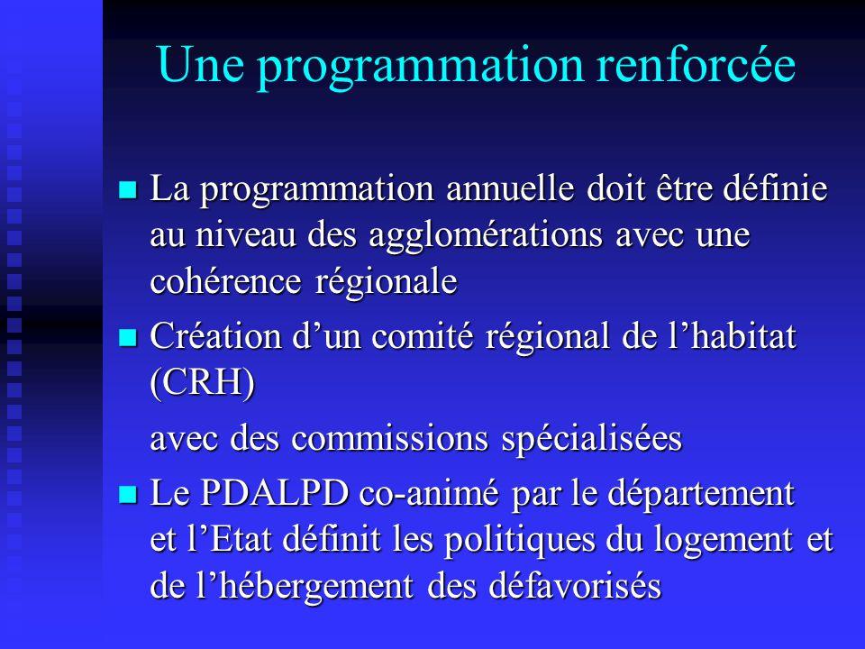 Une programmation renforcée n La programmation annuelle doit être définie au niveau des agglomérations avec une cohérence régionale n Création dun comité régional de lhabitat (CRH) avec des commissions spécialisées n Le PDALPD co-animé par le département et lEtat définit les politiques du logement et de lhébergement des défavorisés