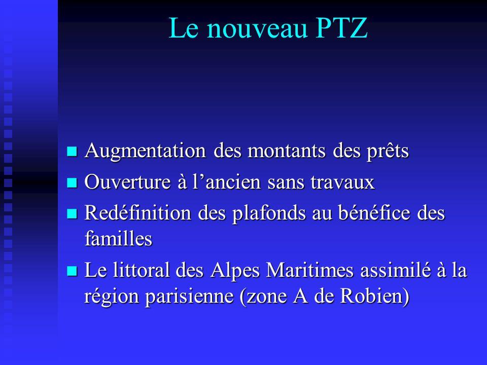 Le nouveau PTZ n Augmentation des montants des prêts n Ouverture à lancien sans travaux n Redéfinition des plafonds au bénéfice des familles n Le littoral des Alpes Maritimes assimilé à la région parisienne (zone A de Robien)