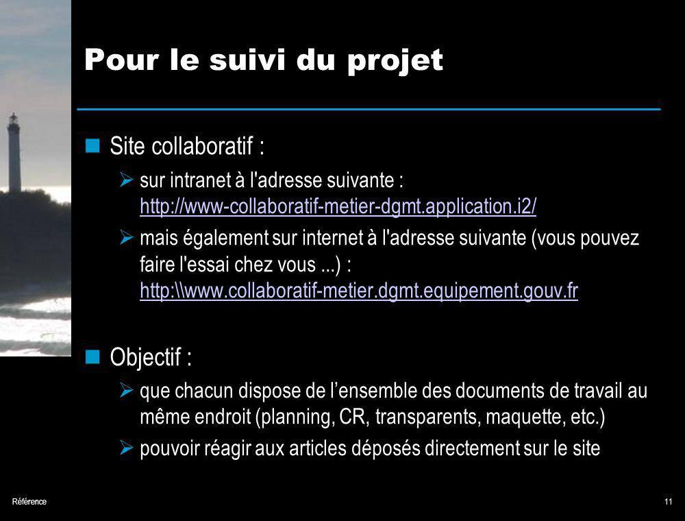 Référence11 Pour le suivi du projet Site collaboratif : sur intranet à l adresse suivante : http://www-collaboratif-metier-dgmt.application.i2/ http://www-collaboratif-metier-dgmt.application.i2/ mais également sur internet à l adresse suivante (vous pouvez faire l essai chez vous...) : http:\\www.collaboratif-metier.dgmt.equipement.gouv.fr http:\\www.collaboratif-metier.dgmt.equipement.gouv.fr Objectif : que chacun dispose de lensemble des documents de travail au même endroit (planning, CR, transparents, maquette, etc.) pouvoir réagir aux articles déposés directement sur le site