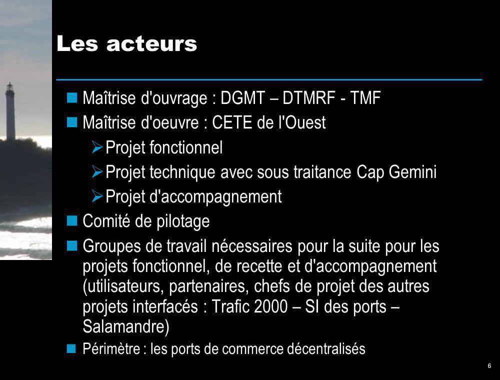 6 Les acteurs Maîtrise d'ouvrage : DGMT – DTMRF - TMF Maîtrise d'oeuvre : CETE de l'Ouest Projet fonctionnel Projet technique avec sous traitance Cap