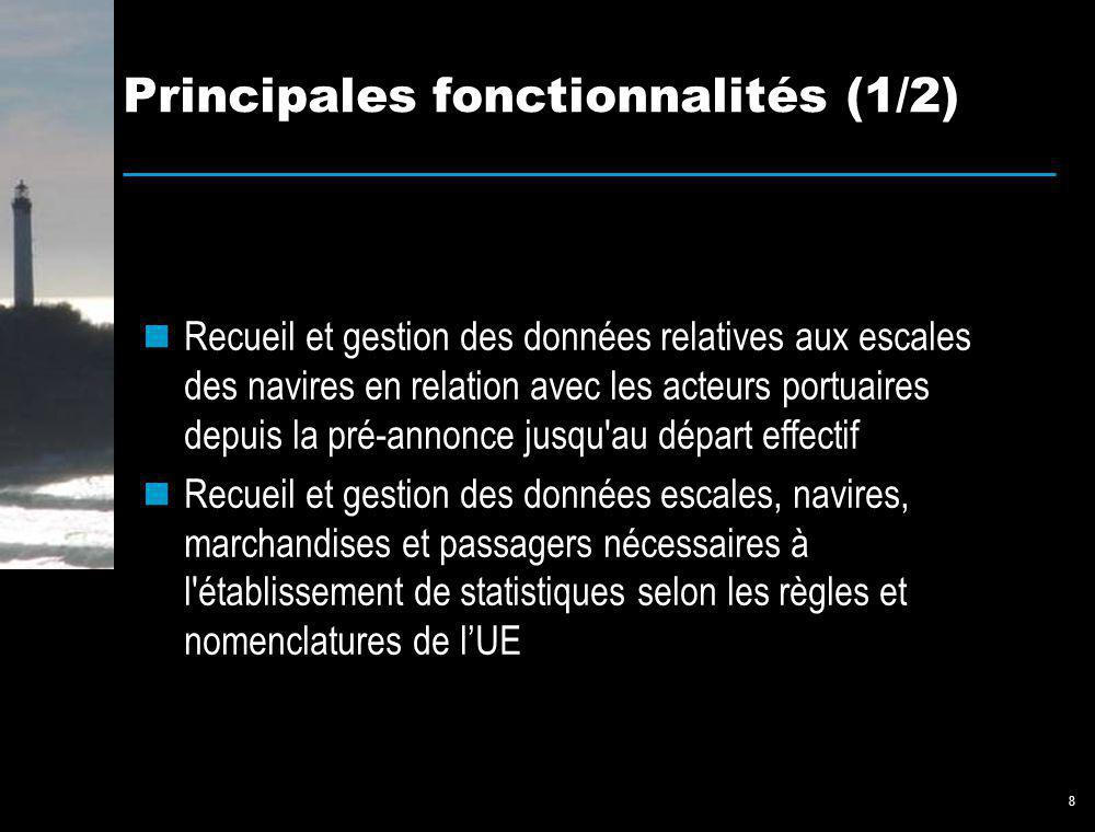 8 Principales fonctionnalités (1/2) Recueil et gestion des données relatives aux escales des navires en relation avec les acteurs portuaires depuis la