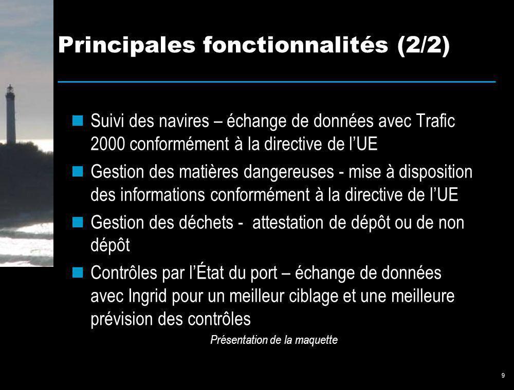 9 Principales fonctionnalités (2/2) Suivi des navires – échange de données avec Trafic 2000 conformément à la directive de lUE Gestion des matières da
