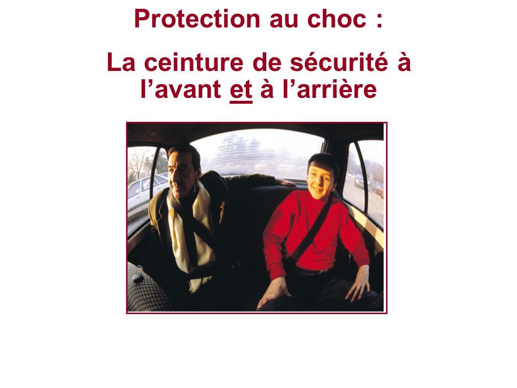 Protection au choc : La ceinture de sécurité à lavant et à larrière