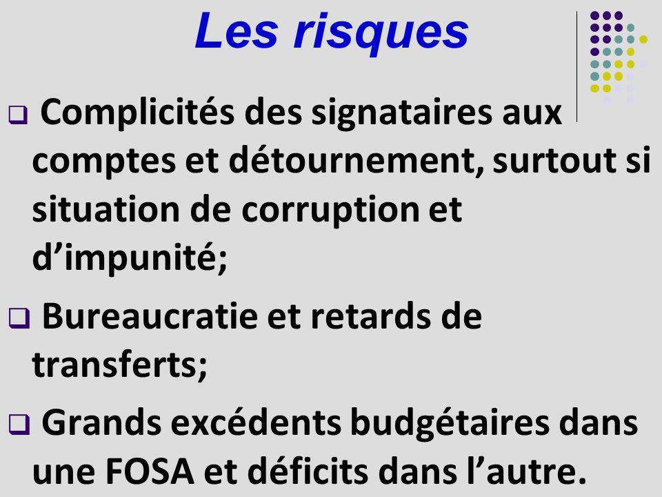Les risques Complicités des signataires aux comptes et détournement, surtout si situation de corruption et dimpunité; Bureaucratie et retards de trans