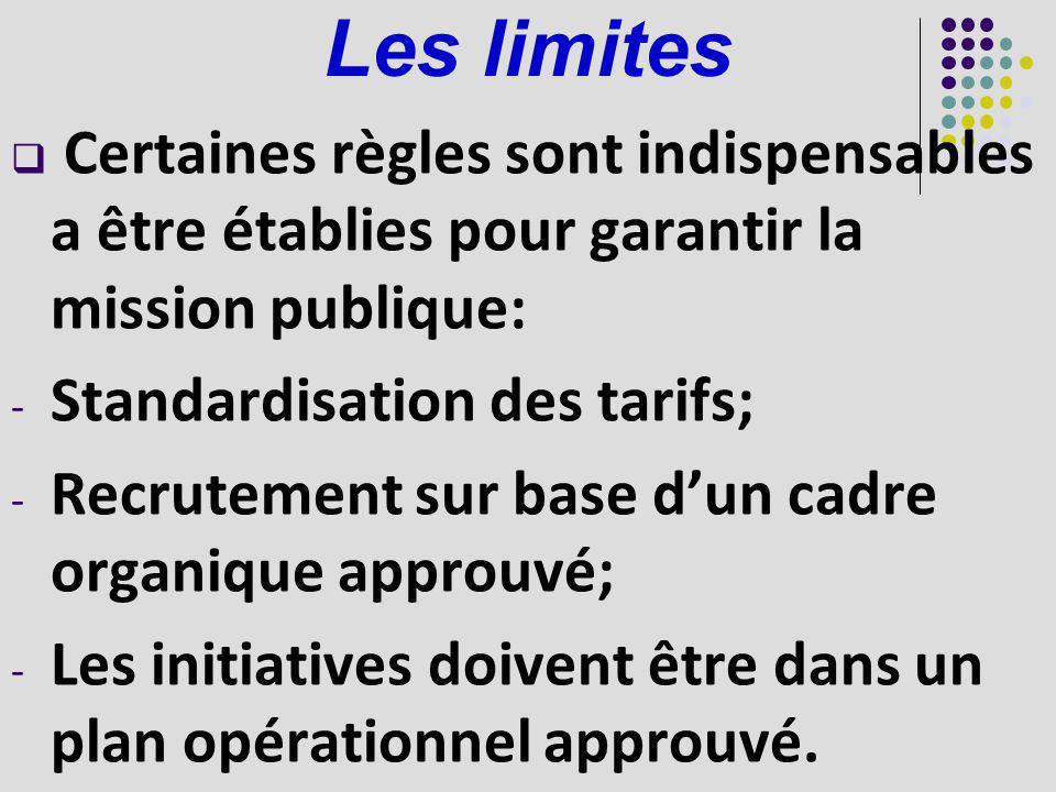 Les limites Certaines règles sont indispensables a être établies pour garantir la mission publique: - Standardisation des tarifs; - Recrutement sur ba