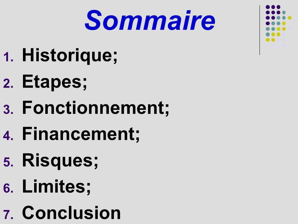 Sommaire 1. Historique; 2. Etapes; 3. Fonctionnement; 4. Financement; 5. Risques; 6. Limites; 7. Conclusion