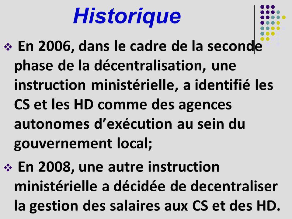 Historique En 2006, dans le cadre de la seconde phase de la décentralisation, une instruction ministérielle, a identifié les CS et les HD comme des ag