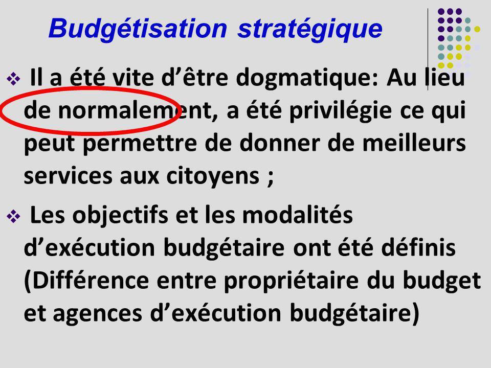 Budgétisation stratégique Il a été vite dêtre dogmatique: Au lieu de normalement, a été privilégie ce qui peut permettre de donner de meilleurs servic
