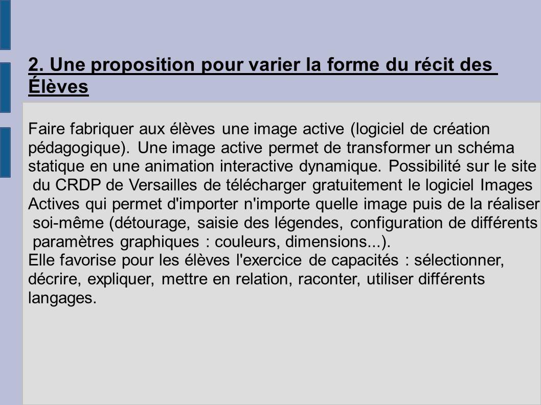 2. Une proposition pour varier la forme du récit des Élèves Faire fabriquer aux élèves une image active (logiciel de création pédagogique). Une image