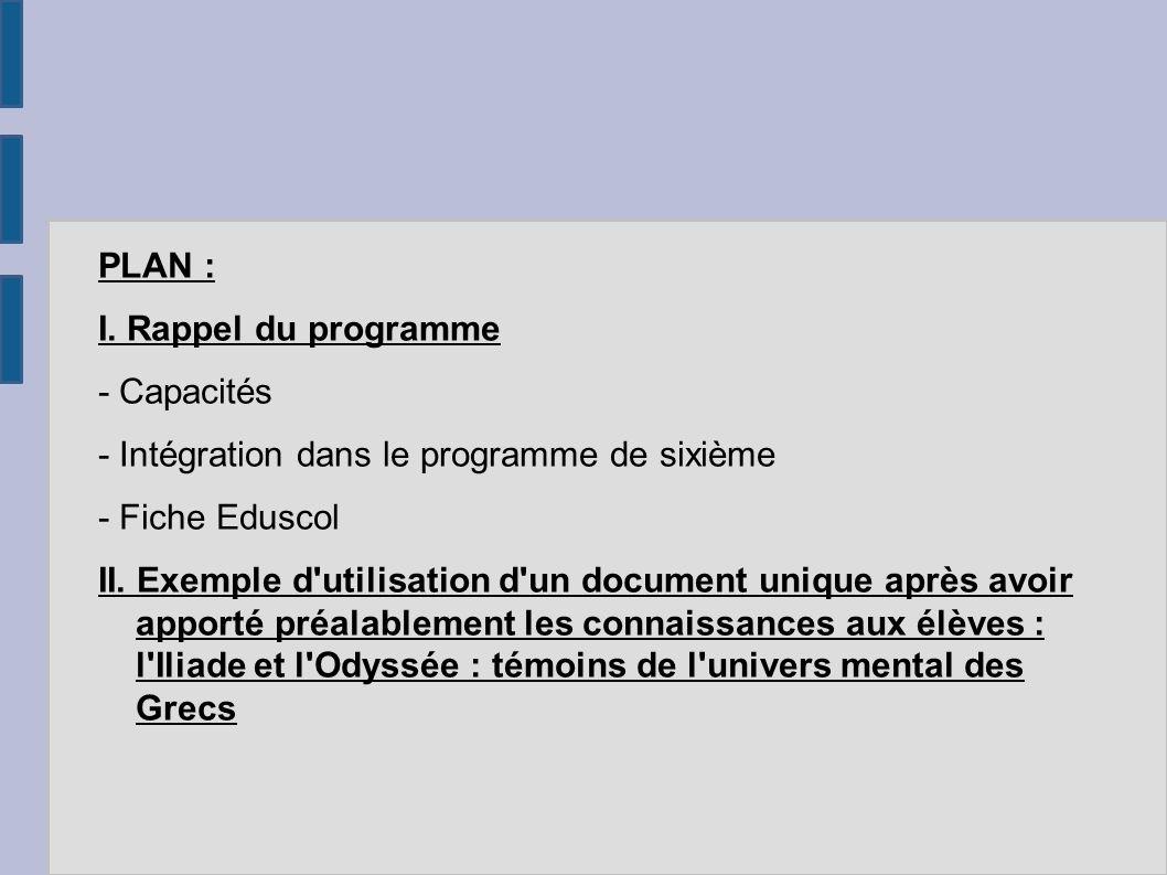 PLAN : I. Rappel du programme - Capacités - Intégration dans le programme de sixième - Fiche Eduscol II. Exemple d'utilisation d'un document unique ap