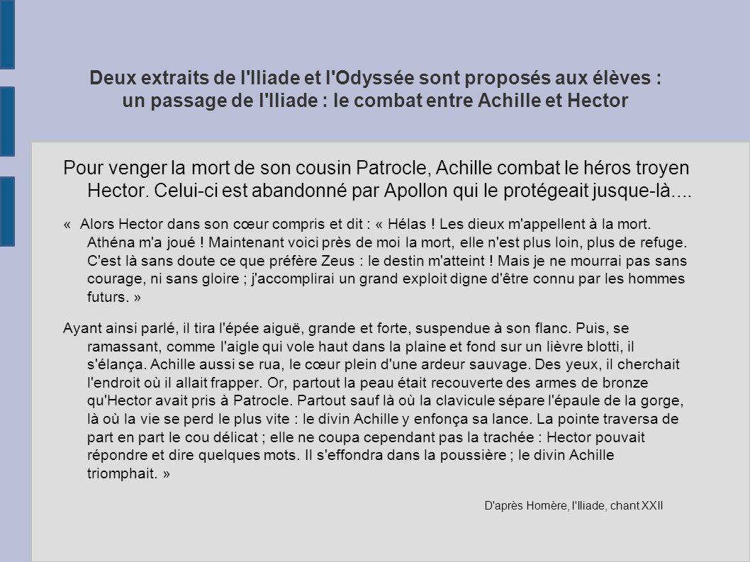 Deux extraits de l'Iliade et l'Odyssée sont proposés aux élèves : un passage de l'Iliade : le combat entre Achille et Hector Pour venger la mort de so